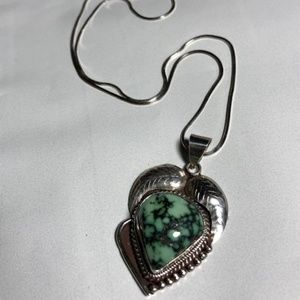 Sterling Silver Green Turquoise Necklace 20""